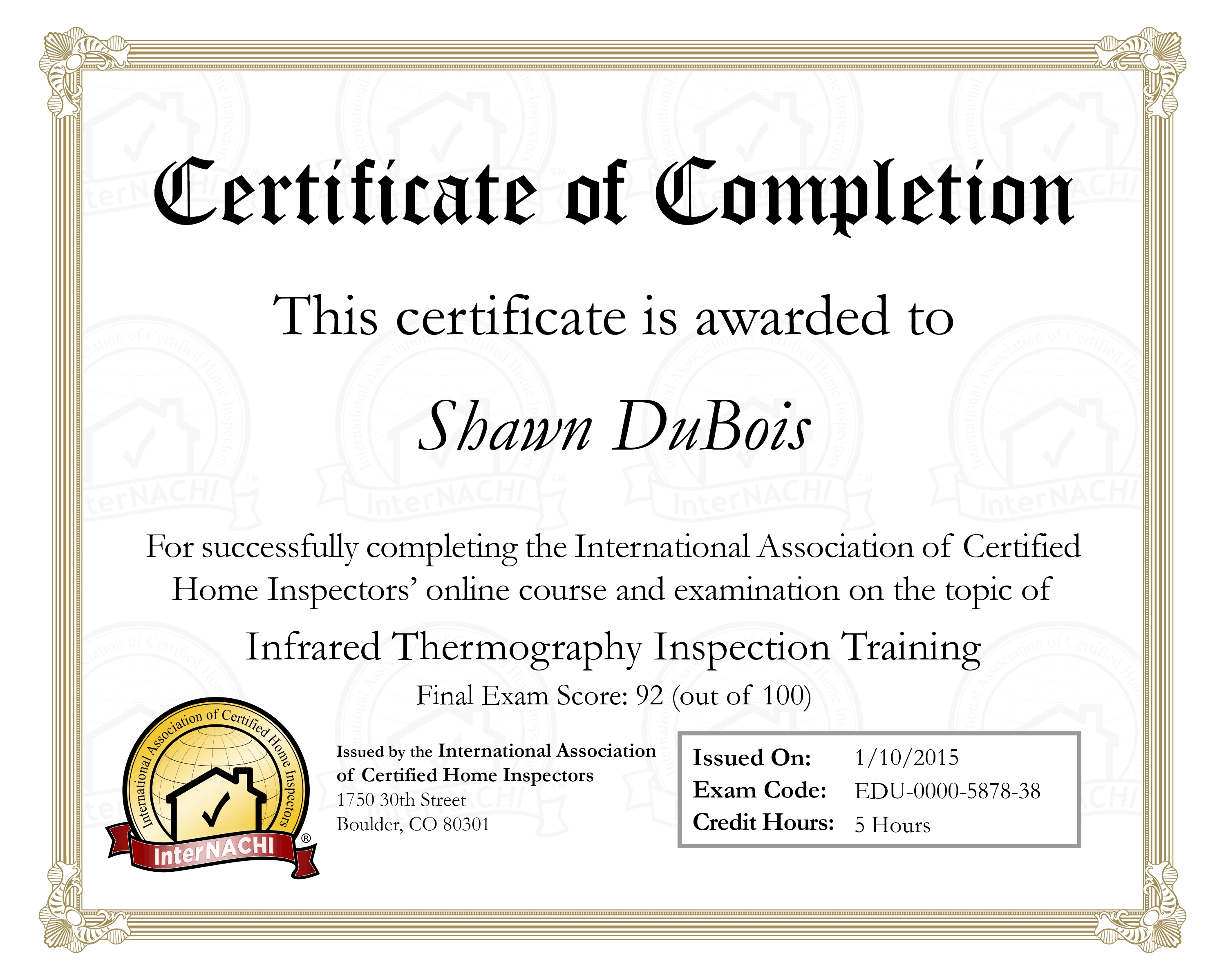 Licenses And Certifications Aa Advanced Home Inspections